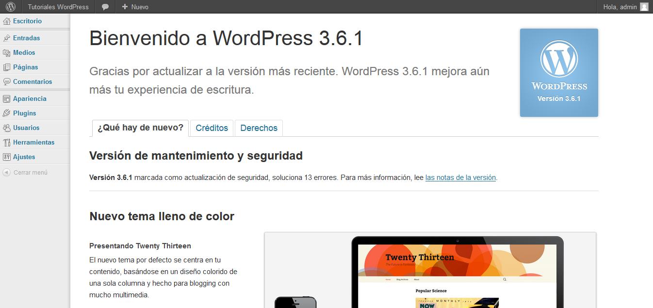 El escritorio de WordPress